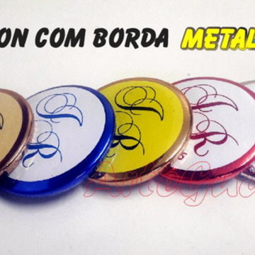 Botton 38 mm com borda metalizada
