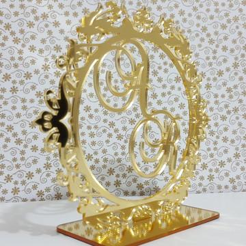 Topo de Bolo Dourado Espelhado