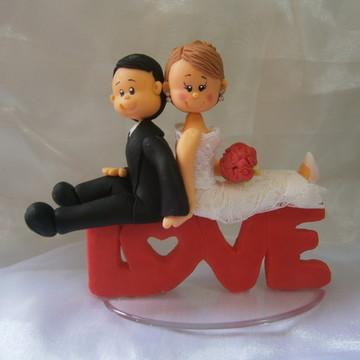 Topo de bolo Noivinhos Love