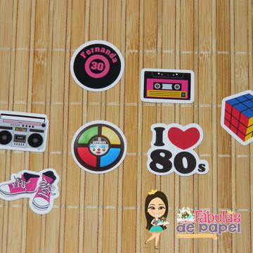 Apliques para forminhas Festa Anos 80
