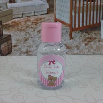 Mini álcool gel ursinha rosa