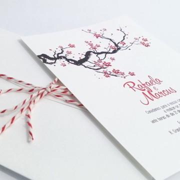 Convite de Casamento Moderno Cerejeira