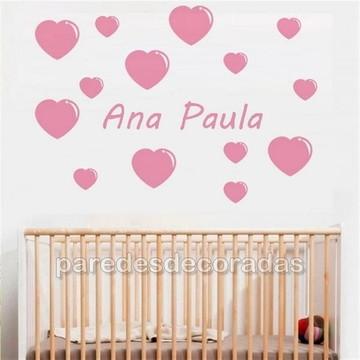 Adesivo Corações + Nome Criança