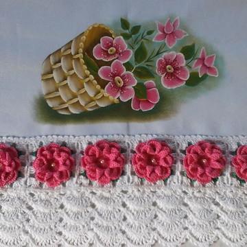 Pano de prato flores rosa.