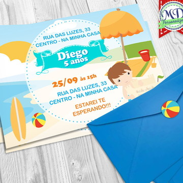 Convite Praia Baby c/ envelope