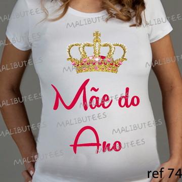 Camiseta Bata Gestante Bebe Mãe do ano