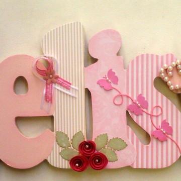 Nome em MDF Melissa princesa rosa