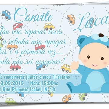 Convite de Aniversário de 1 ano - Menino