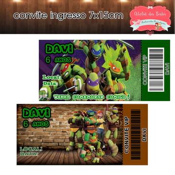 convite ingresso tartarugas ninjas