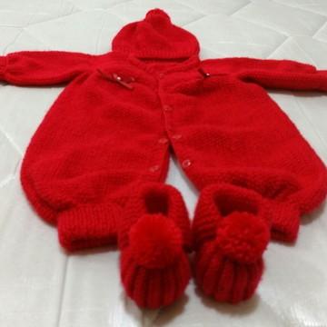 Saída de maternidade 5 peças vermelha