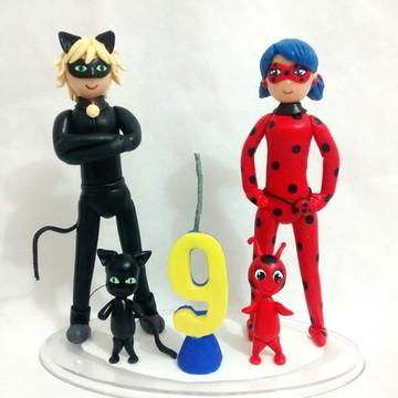 Topo de bolo Ladybug e Cat noir