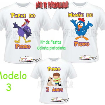 Kit Camisetas Galinha Pintadinha.