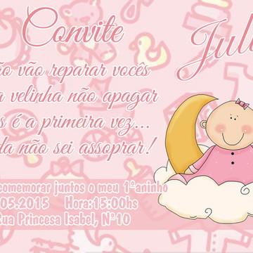 Convite de Aniversário de 1 ano - Menina