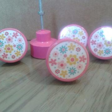 Puxador estilo Porcelana florzinha rosa