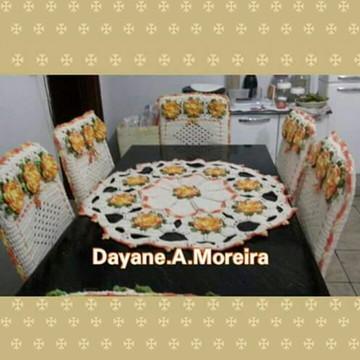 Jogo de mesa em croche 7 peças