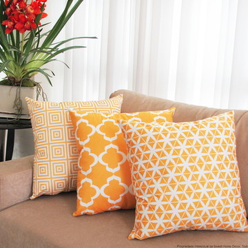 capa Almofada Suede Confort Amarelo 3 peças 50x50cm