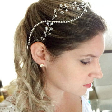 Tiara de noiva boho cristais e pedrarias