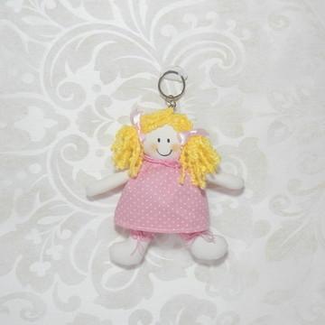 Chaveiro de Boneca Rosa Poá Branco