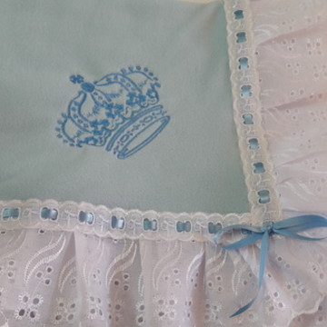 Manta bebê soft azul coroa