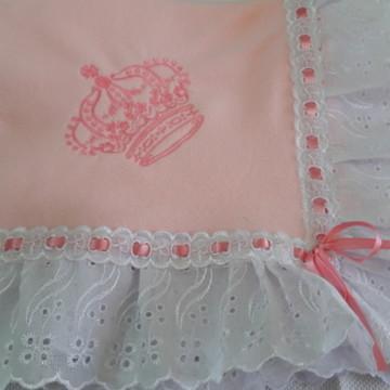 Manta bebê soft rosa coroa