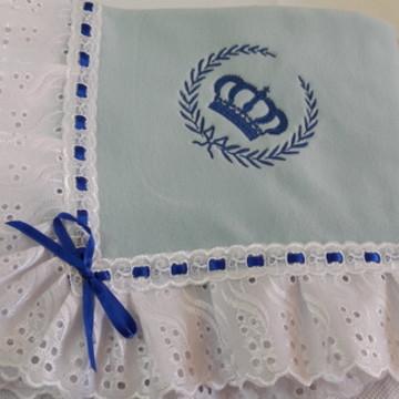 Manta bebê soft azul coroa 3