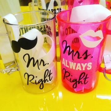 Par de Canecas Mr. and Mrs. Right