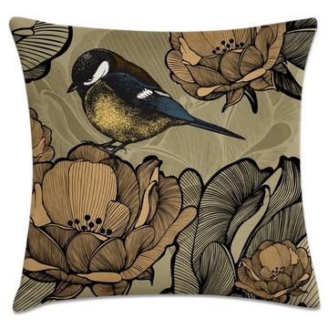capa de almofada Pássaro fundo cinza