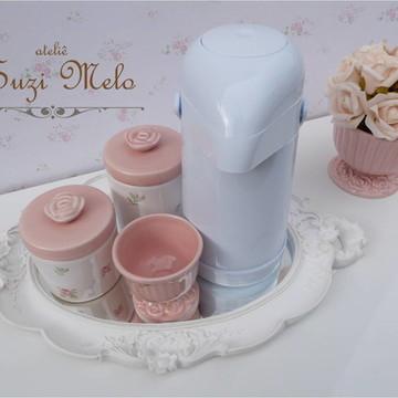 Kit Higiene Porcelana Rosas floral
