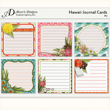 Kit Digital Hawaii Journal Cards