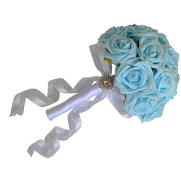 Buquê Noiva - Rosas Azul Turquesa