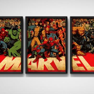 3 Quadros Marvel Comics Personagens com Moldura e Vidro