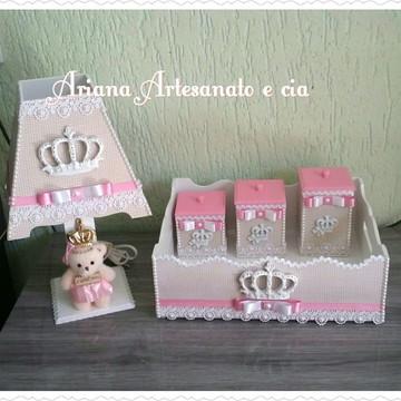 Kit higiene Princesa bege e rosa