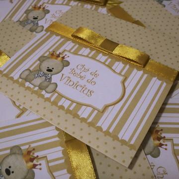 Convite Para Chá De Bebê urso príncipe