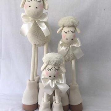 Trio ovelha (carneiro) em pé bicho de pano