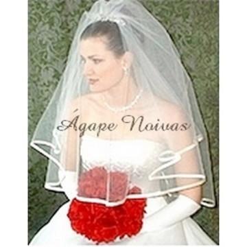 Véu Noiva Duplo 2 Camadas Barrado veu14f