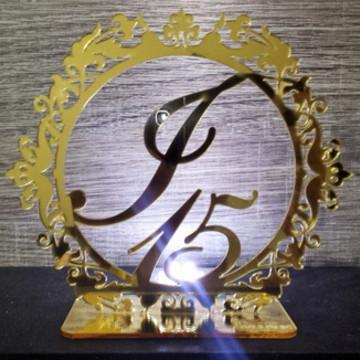 Topo de Bolo Dourado Espelhado 15 Anos