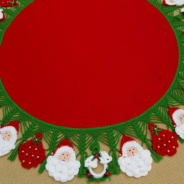 Toalha de Natal Papai Noel guirlanda árvore de Crochê