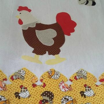 Pano de prato galinha e abelhinha