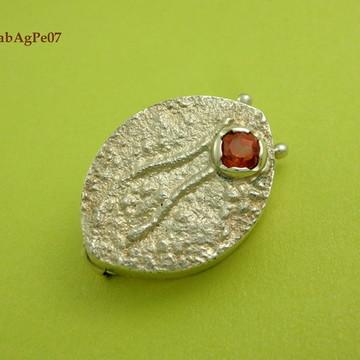 Capa de botão/broche em prata 950, pedra