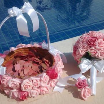 kit cesta porta-pétalas & Bouquet noiva