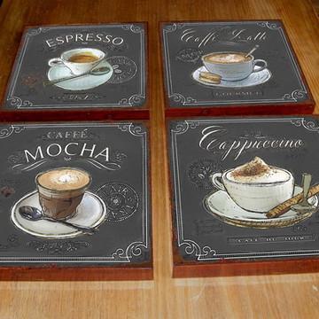 4 Quadros Tela Decorativos Café 1