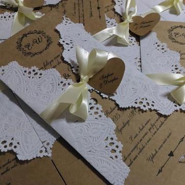 Convite para casamento craft rendado