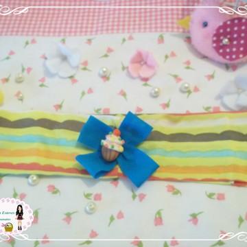 faixa de cabelo cup cake