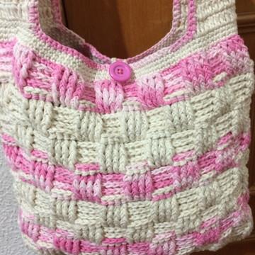 Bolsa em crochê Cru com Rosa Verônica