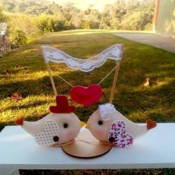 Topo bolo casamento Pássaros com varal