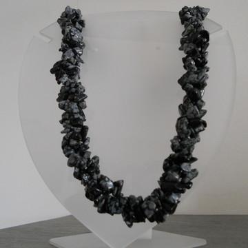 Colar de Cascalho Obsidiana