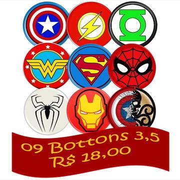 09 Bottons Combo 3,5 - Heróis Boton