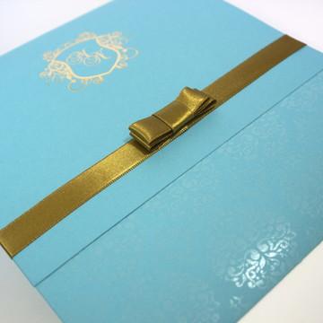 Convite Darck /Azul turquesa e dourado