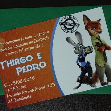 Convite de Aniversário Zootopia