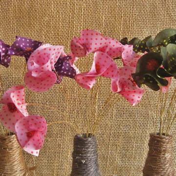 Flores de tecido e sempre vivas